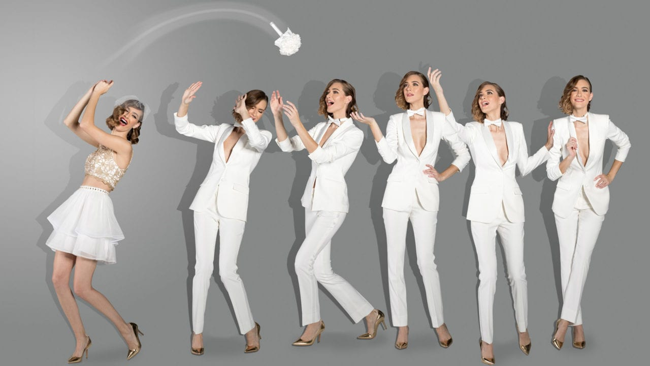 A bride and her five bridesmaids all played by model Danielle Hamm for Little Black Tux photography by Kevin Ames Composite by Kevin Ames