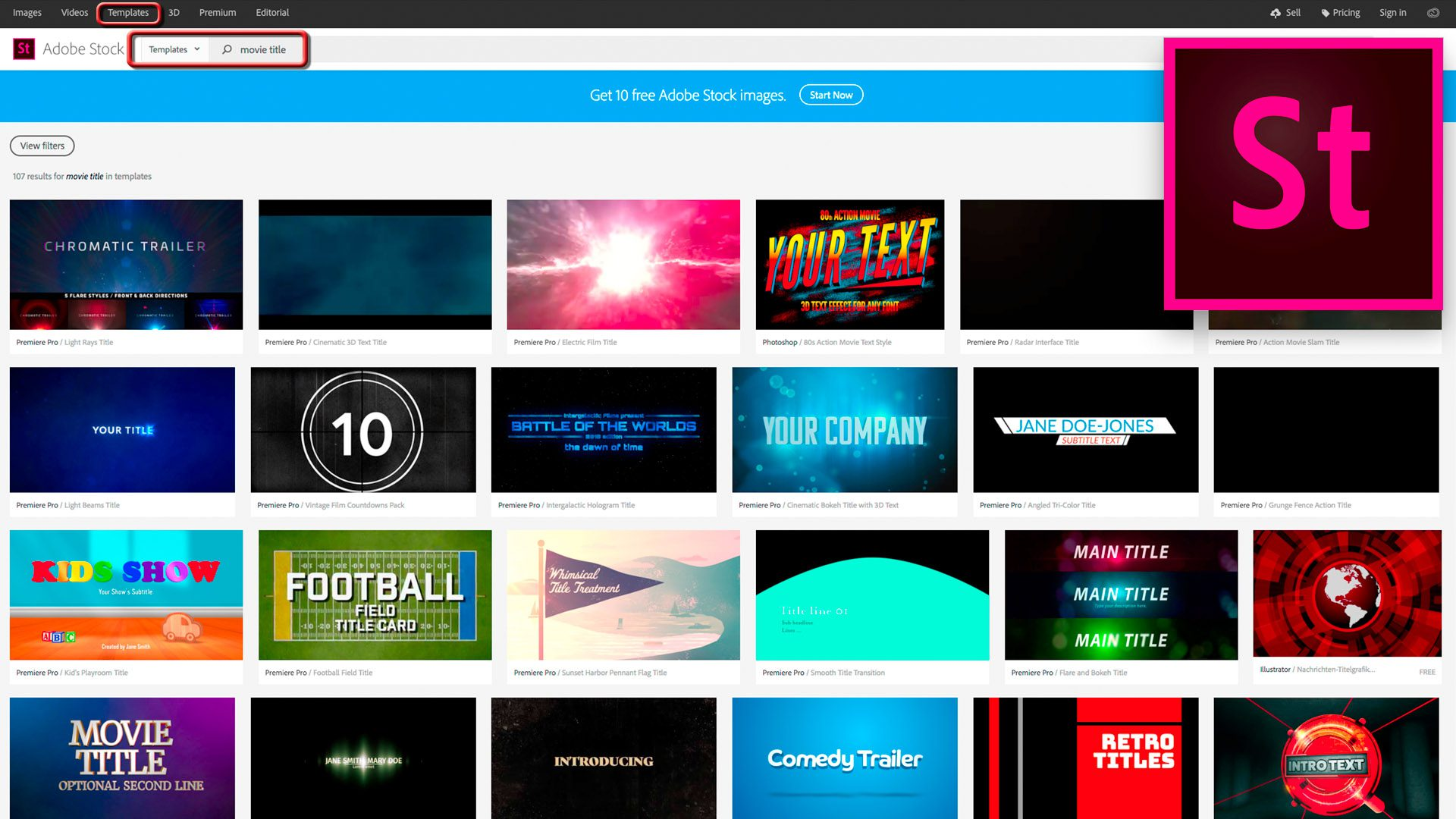Motion Graphics Templates a.k.a. MOGRTs are on Adobe Stock in both free and paid downloads